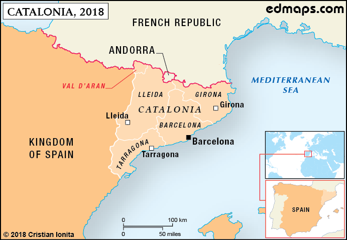 Map Of Spain And Catalonia.Catalonia In Seven Maps